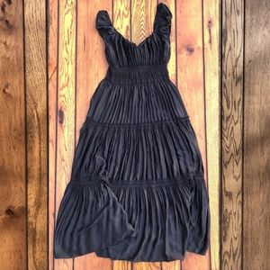 Boston Proper Black Tiered Stretchy Dress, L
